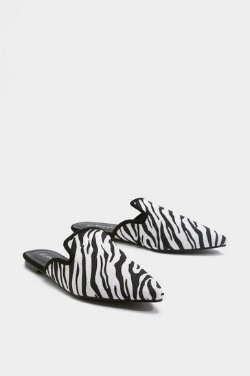 Womens Black Run the World Zebra Flat Mules