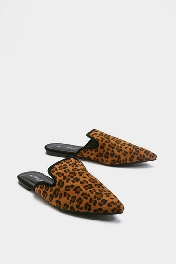 Womens Brown As Soon As Paw-sible Leopard Mules
