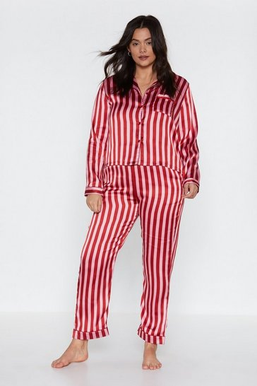 Womens Red Just Like Candy Striped Satin Shirt and Trousers Pyjama Set