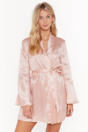Womens Nude In For the Night Satin Jacquard Robe