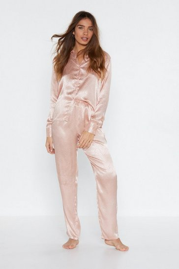 Womens Nude Pillow Talk Jaquard Shirt and Pants Pajama Set
