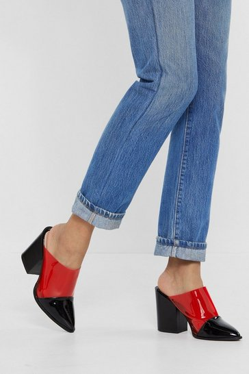 Womens Red Mule Breaker Clear Mule