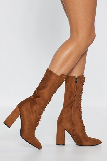 Womens Tan Immi Block Heel Lace Up Calf Boot