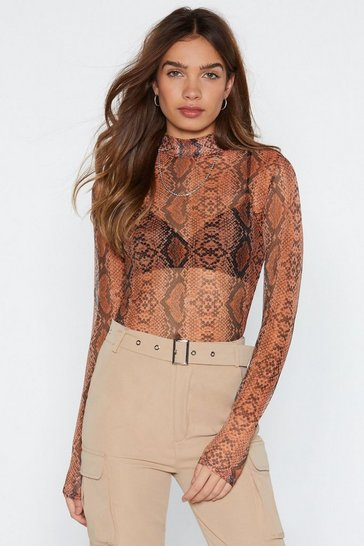 Womens Rust What an Animal Mesh Top