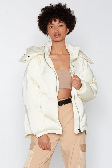 Womens White Layer It On Padded Coat