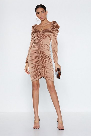 Womens Champagne What My Ruche Satin Dress