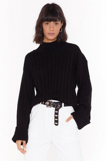 Womens Black Knit's About to Go Down Ribbed Sweater