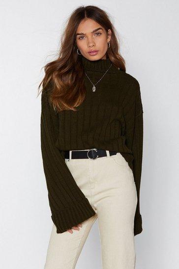 Khaki Black Ribbed Knit Sweater with Turtleneck