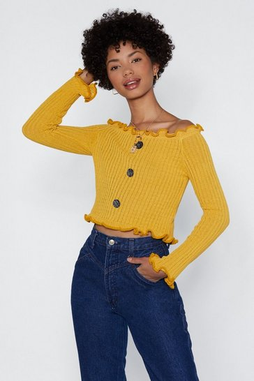 Womens Mustard Show Off-the-Shoulder Knit Top