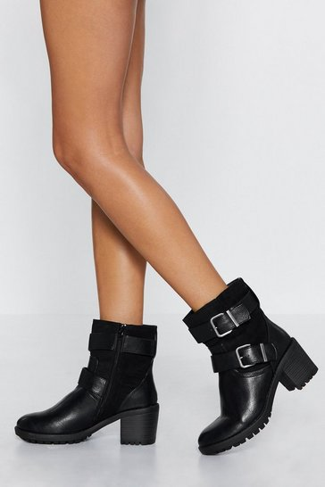 Womens Black Shut Your Strap Buckle Boot