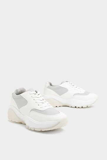 Womens White Waste No Time Faux Leather Trainers