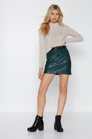 Womens Green Pocket This Faux Leather Skirt