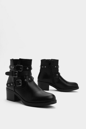 Womens Black Midnight Rider Faux Leather Boot