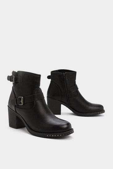 Womens Black Heel It in Buckle Boot