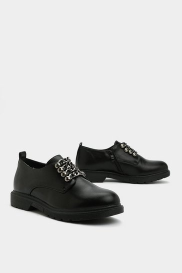 Womens Black Got Me in Chains Oxford