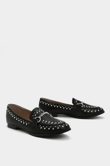 Womens Black Stud Out Studded Loafer