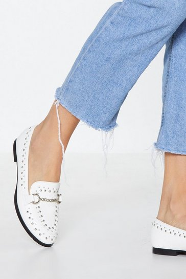 Womens White Stud Out Studded Loafer