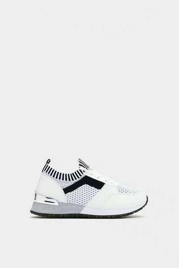 Womens White Keep Knit Up Sneaker
