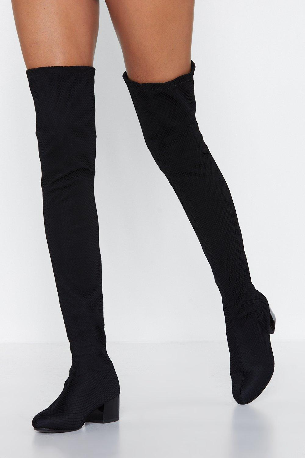 Thigh high boots heels