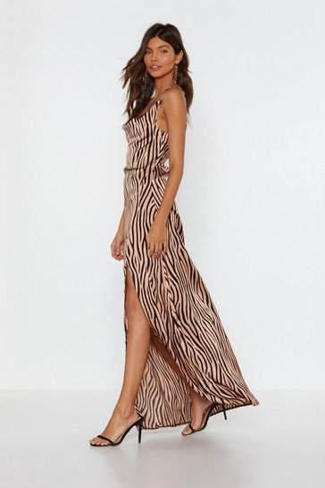 Womens Natural It's Not All Black and White Zebra Dress