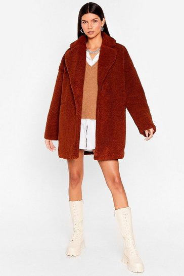 Brown Long December Oversized Faux Fur Coat