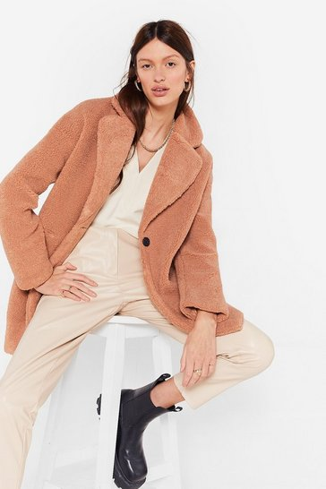 Stone Long December Oversized Faux Fur Coat