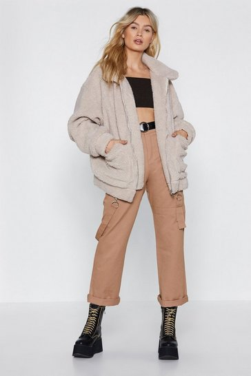 Stone Ready Teddy Go Oversized Faux Fur Jacket