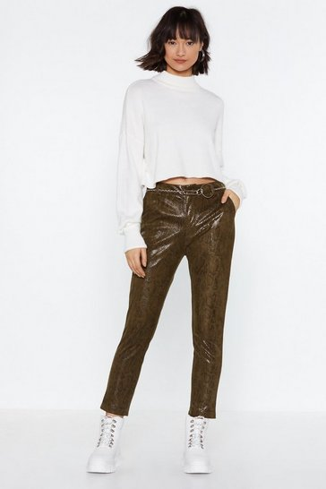 Womens Khaki Snake What's Yours Patent Trousers
