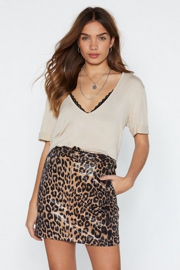 Womens Brown Oh You're Moving Too Fast Leopard Skirt