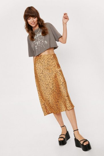 Womens Gold Spotty Check Satin Midi Skirt