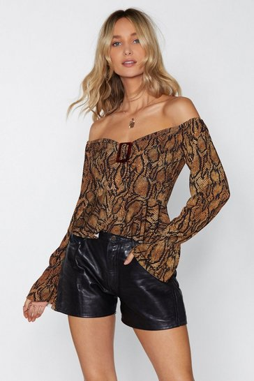 Womens Tan Hissy Fit Snake Top