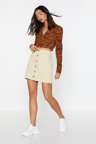 Womens Sand It's Going Button-Down Mini Skirt