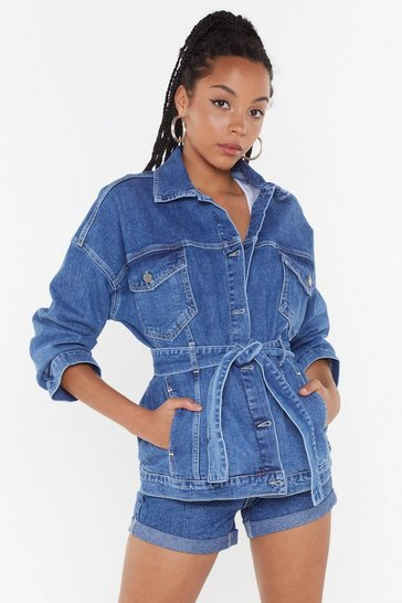 Womens Blue Belting My Heart Denim Jacket