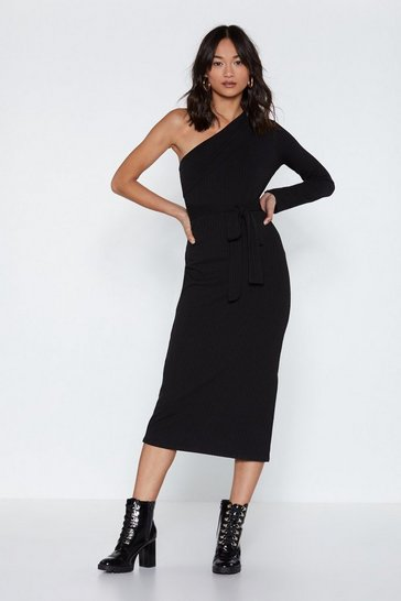 Womens Black One Shoulder's All it Takes Ribbed Knit Dress