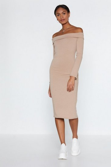 Stone We Fold You So Off-the-Shoulder Dress
