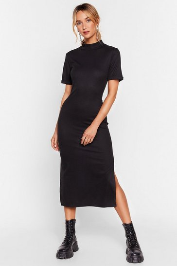 Black Here's the Tee High Neck Midi Dress