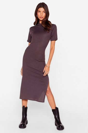 Charcoal Here's the Tee High Neck Midi Dress