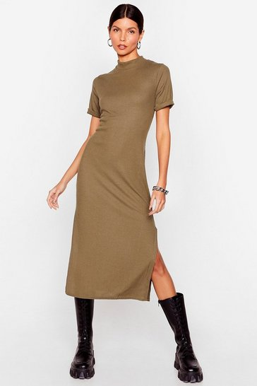 Khaki Here's the Tee High Neck Midi Dress