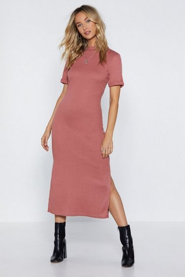 Stone Fitted High Neck T-Shirt Midi Dress