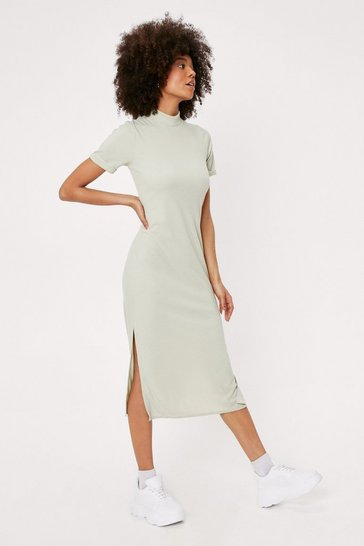 Sage High Neck Short Sleeve Split Hem Midi Dress