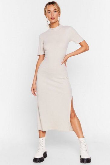 Stone High Neck Short Sleeve Split Hem Midi Dress