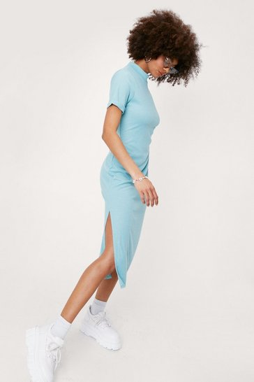 Teal High Neck Short Sleeve Split Hem Midi Dress