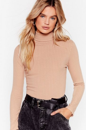 Womens Stone Roll With It Ribbed Turtleneck Sweater