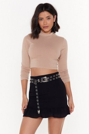 Womens Stone Crop It Low High Neck Sweater