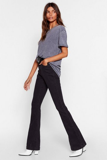 Womens Black Donna High-Waisted Flare Jeans