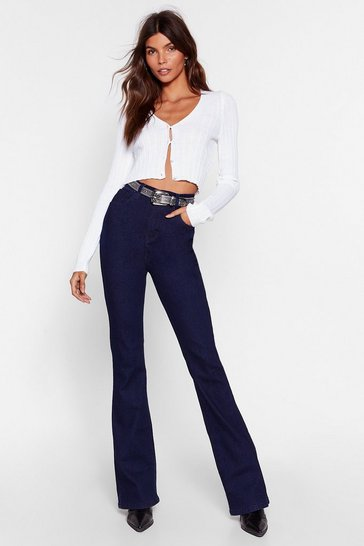 Womens Indigo Donna High-Waisted Flare Jeans