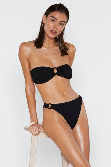 Cream Ring It On Crinkle High-Leg Bikini Bottoms