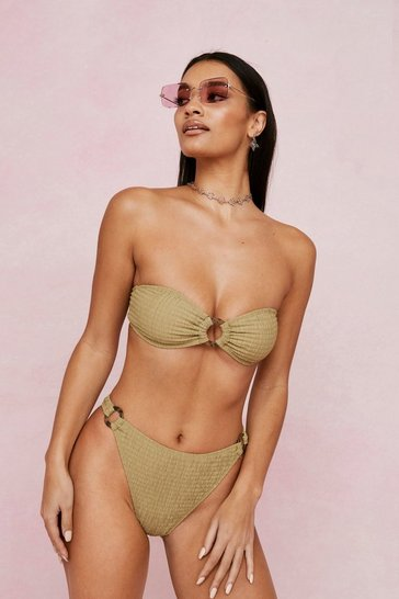 Khaki Ring It On Crinkle Strapless Bikini Top