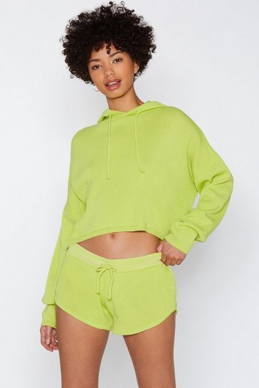 Womens Lime Warm Heart Jumper & Short Set