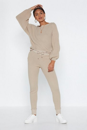 Oatmeal Puff Sleeve Knit Sweater And Matching Joggers Set
